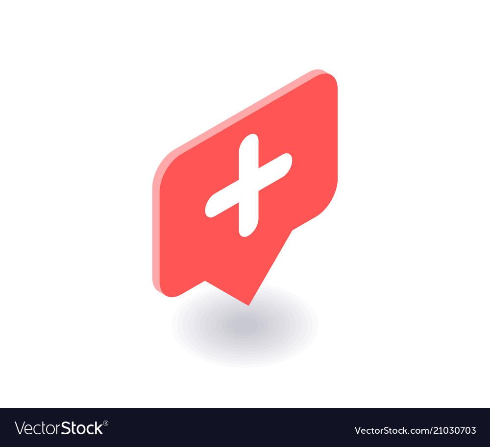 Plus icon symbol in flat isometric 3d