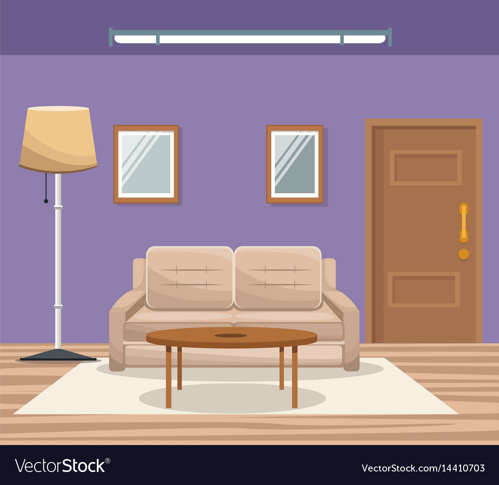 Room home interior sofa mirror floor lamp door Vector Image