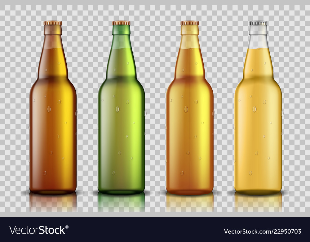 Set realistic glass beer bottle with liquid