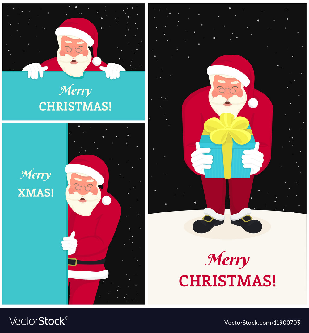 Set three smiling santa claus greeting card vector