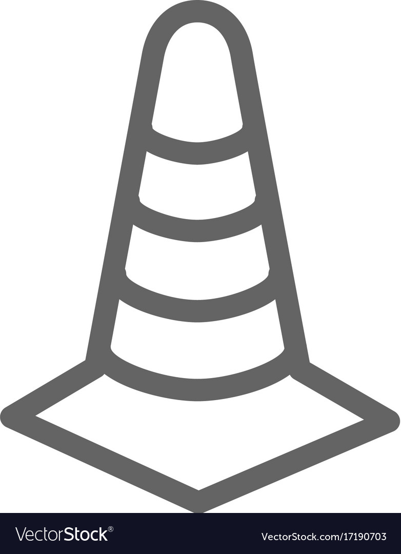 Simple traffic cone icon symbol and sign