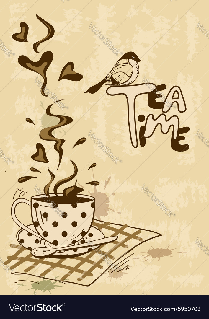 Tea Party Invitation With Teacup And Saucer Vector Image