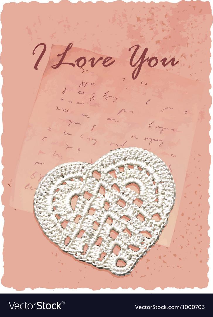 Vintage manuscript romantic card with heart vector image