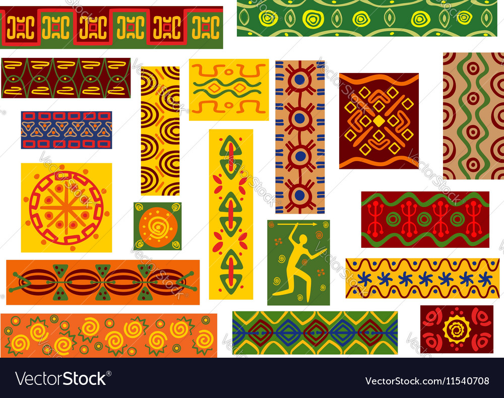African tribal ornaments set with ethnic patterns