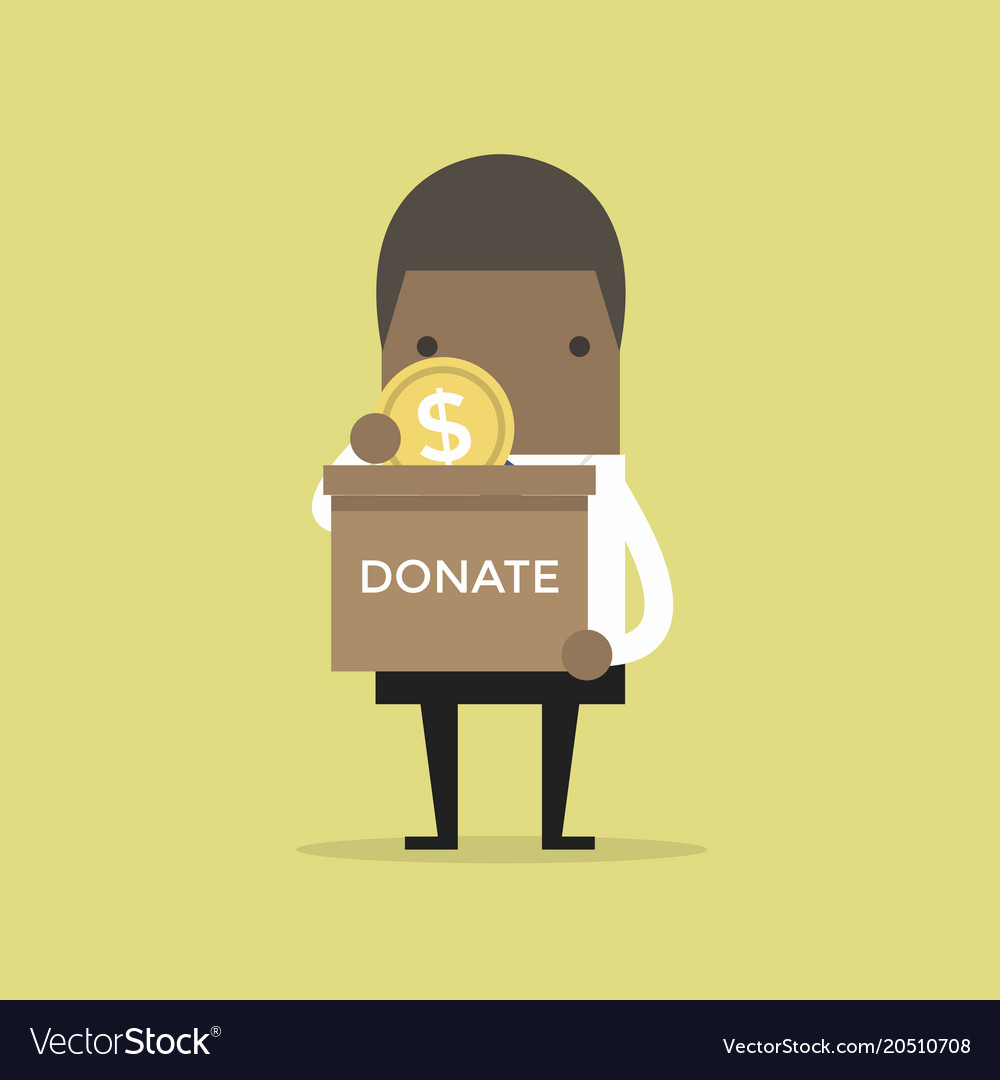 Businessman putting coin in the donation box
