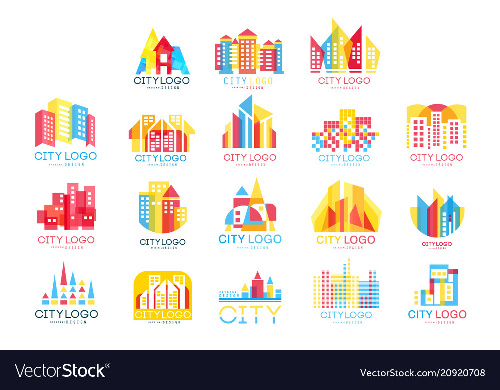 City logo original design set logotype elements