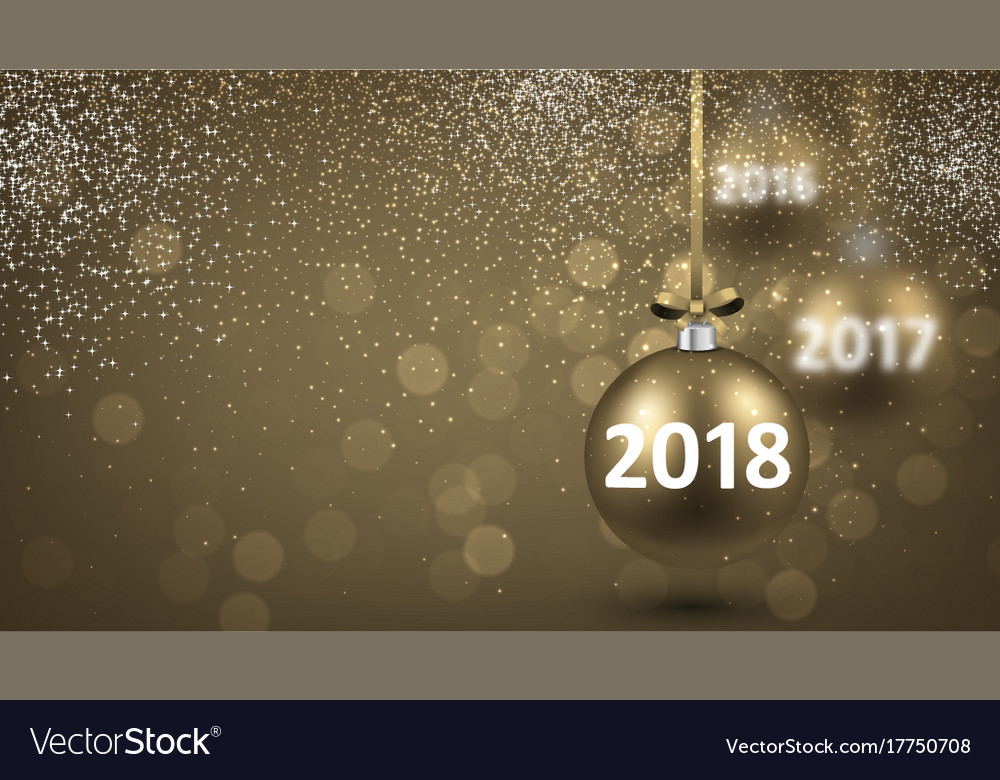 golden shining 2018 new year background vector image