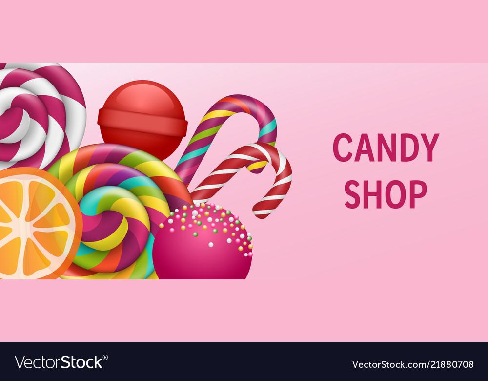 Lollipop candy shop concept banner realistic