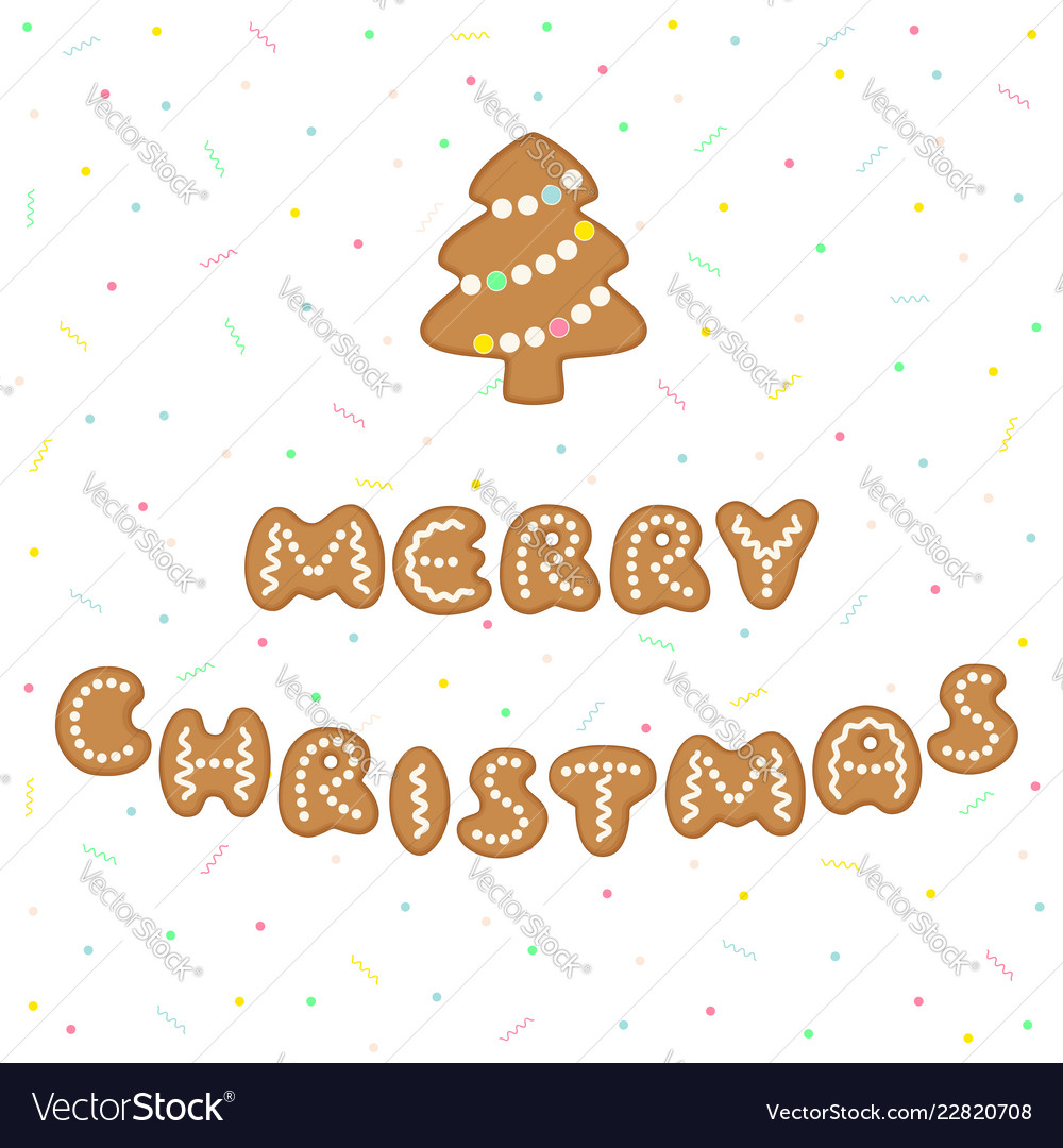 Merry Christmas Greeting With Gingerbread Cookies