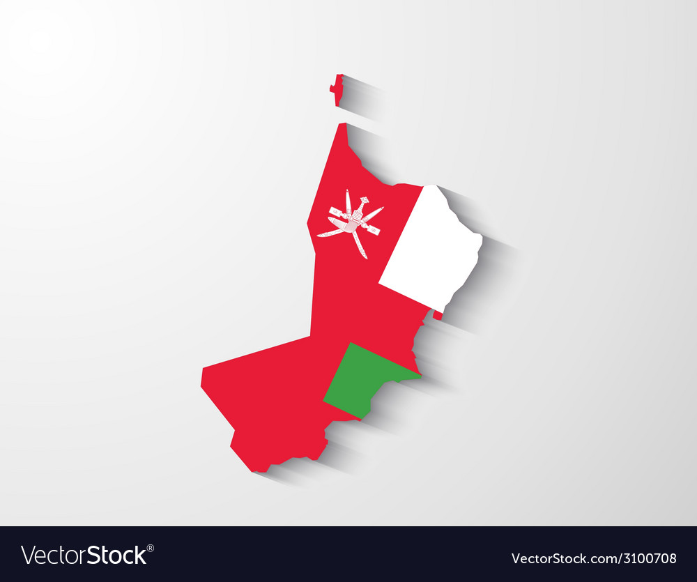 Oman map with shadow effect presentation vector