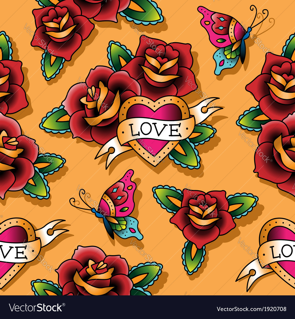 Tattoo love pattern rose