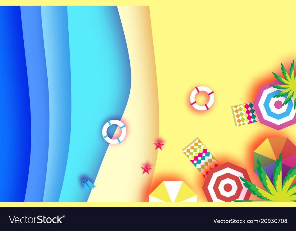 Top view parasols - umbrella in paper cut style
