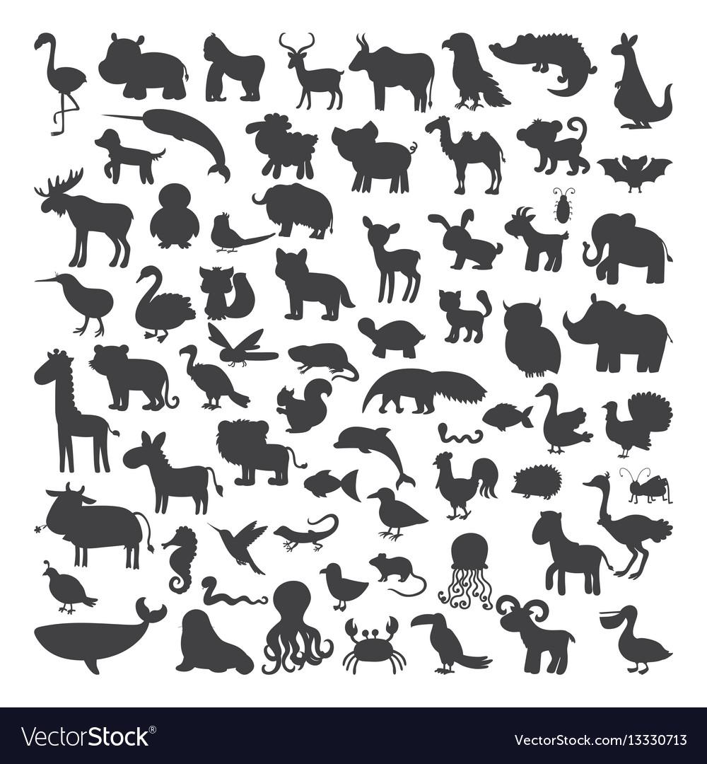 Big set of black animals silhouettes in cartoon