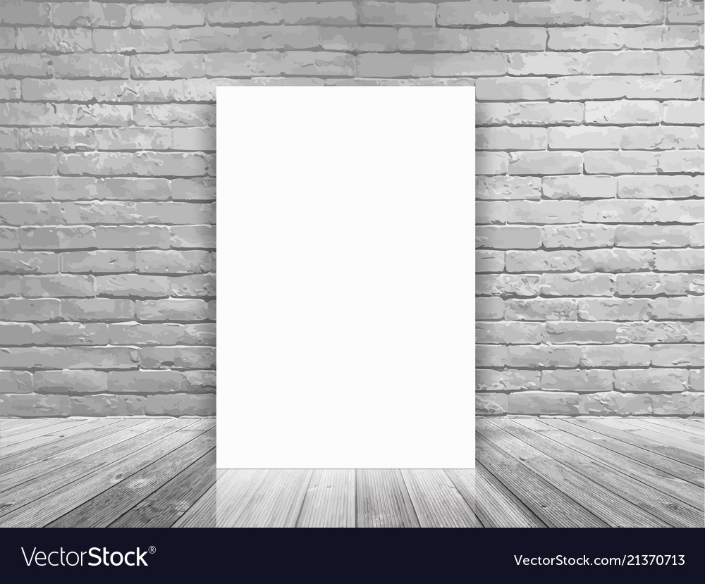blank poster in white brick wall and concrete vector image