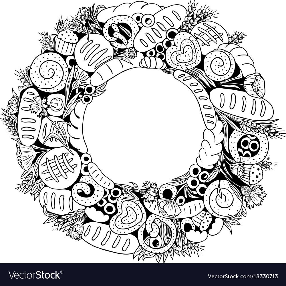 Bread wreath vector image