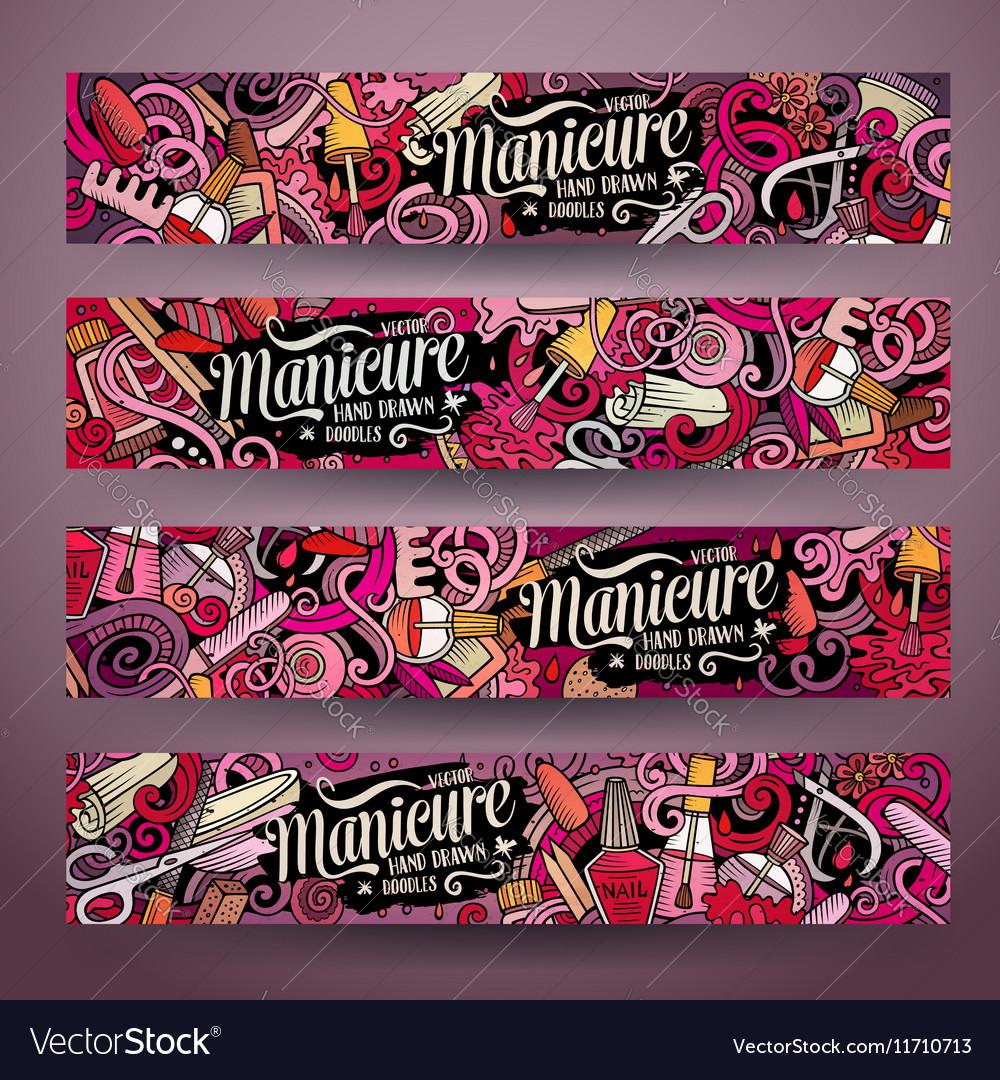 Cartoon cute doodles Nail salon banners Royalty Free Vector