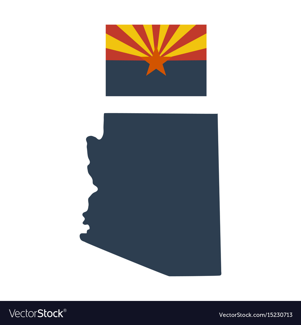Flag of the us state of arizona and map