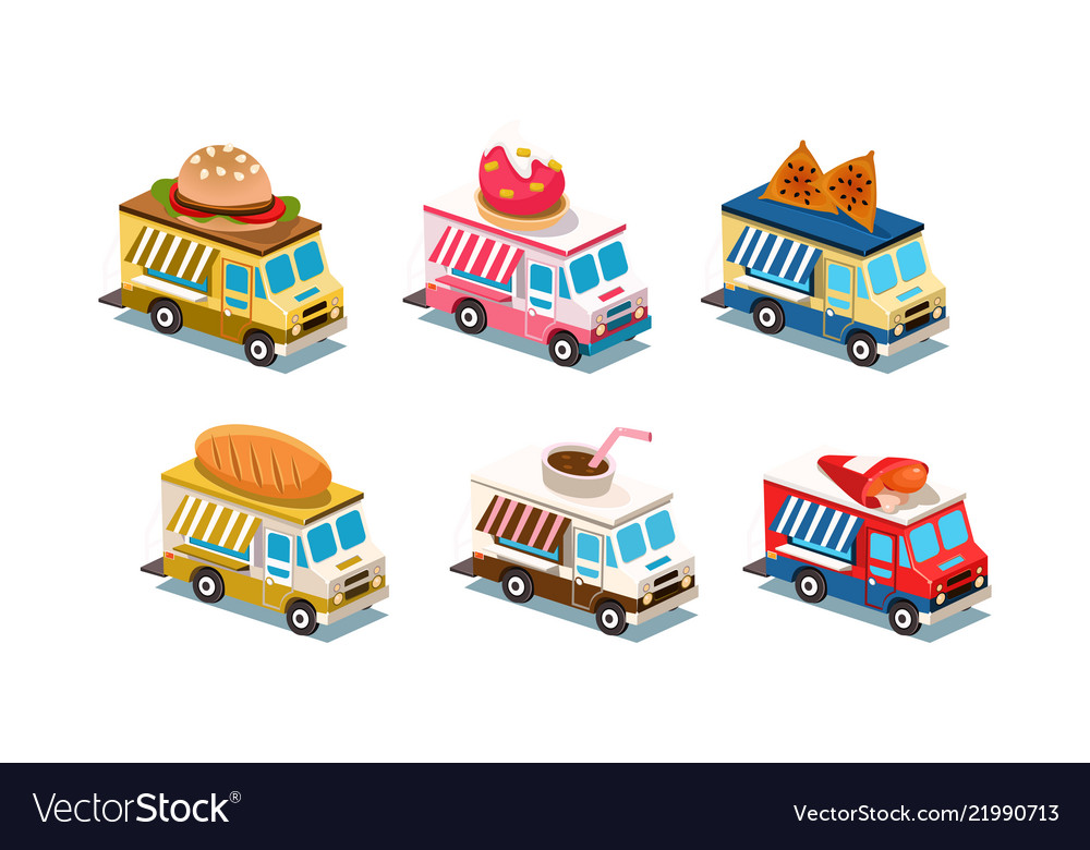 Flat set of food trucks cars with burger