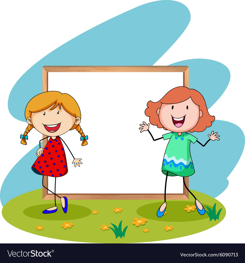 Girls standing in front of white board
