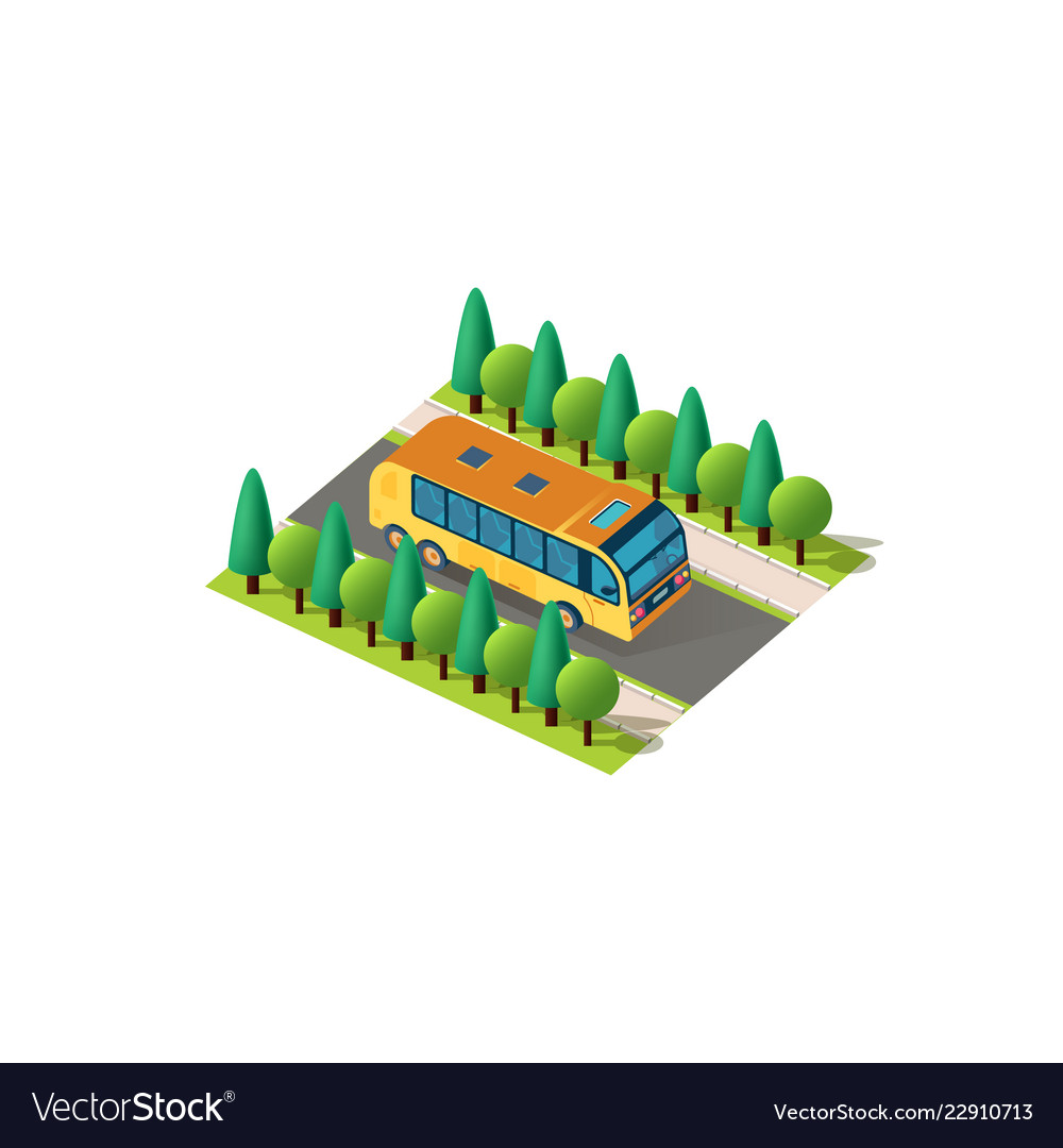 Isometric front right view bus