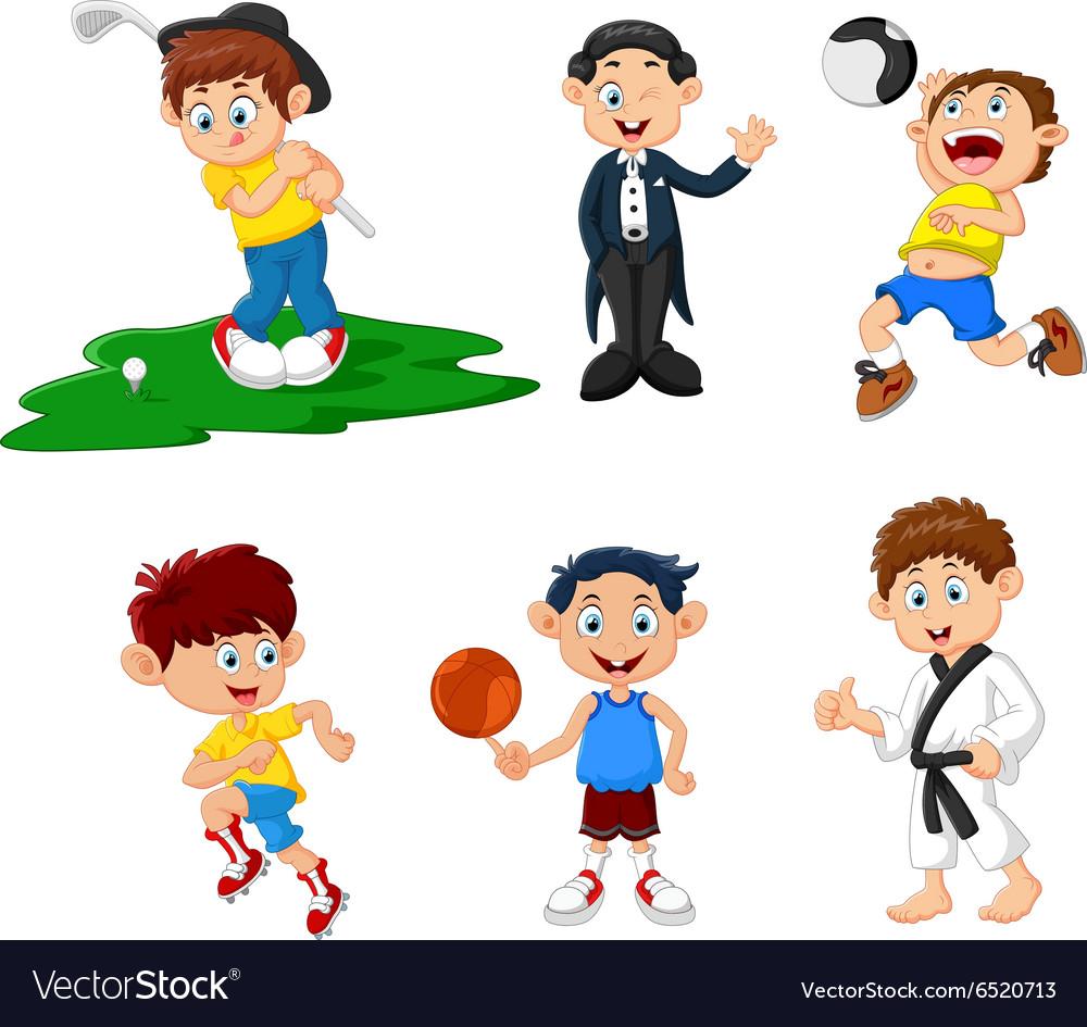 Many children doing sport cartoon