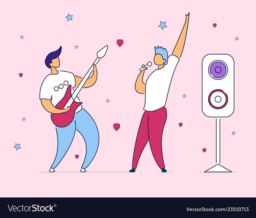 Modern cartoon flat characters musical band