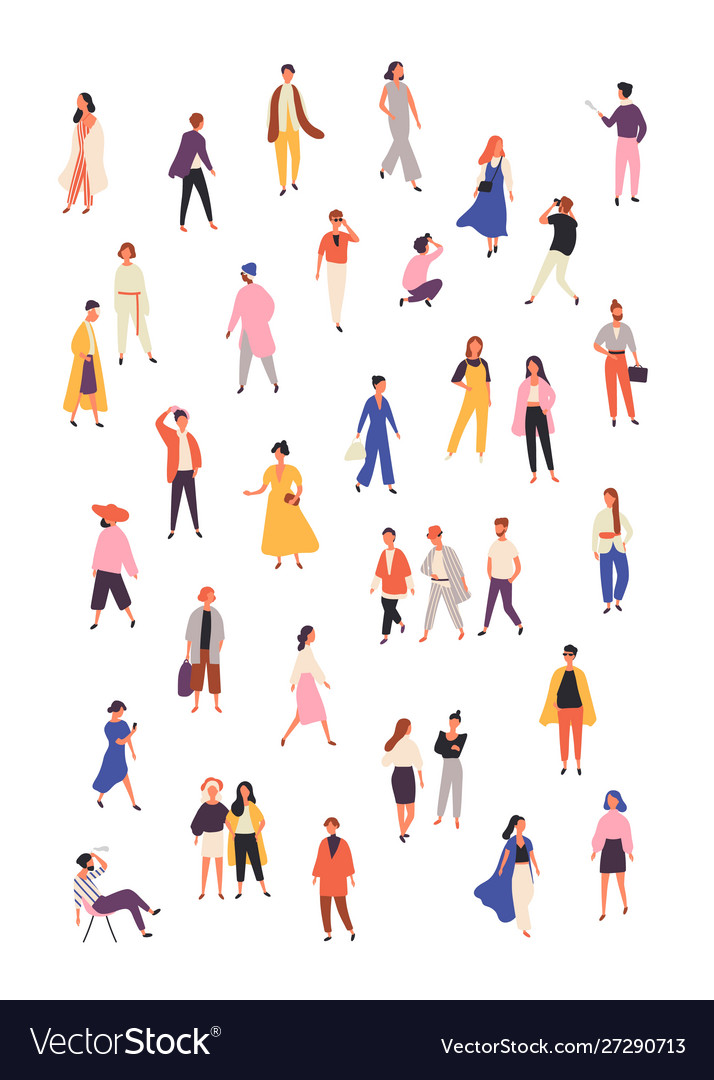 People in fashionable clothes flat