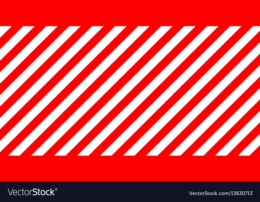 Red and white stripes diagonally sign the size