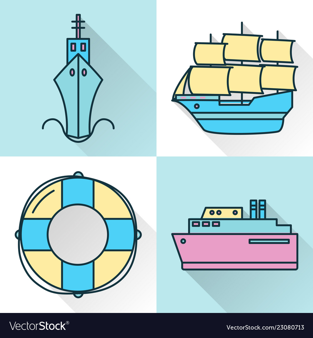 Sea collection ship and nautical icons in line