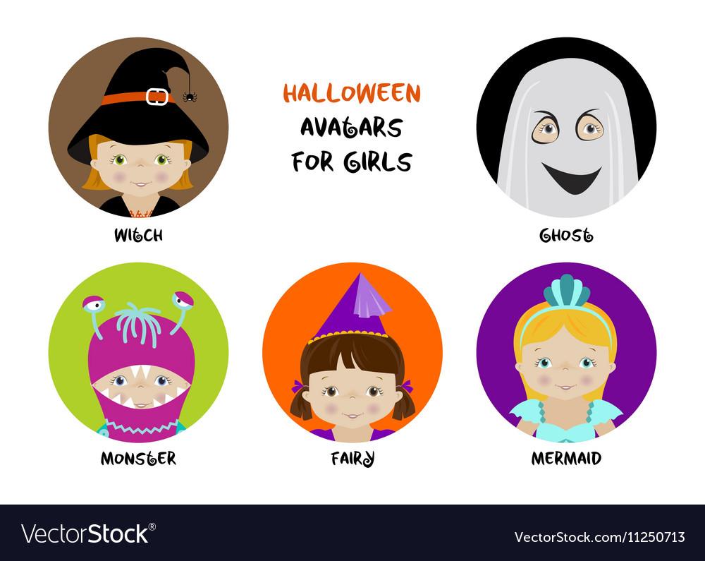 Set of halloween avatars for girls