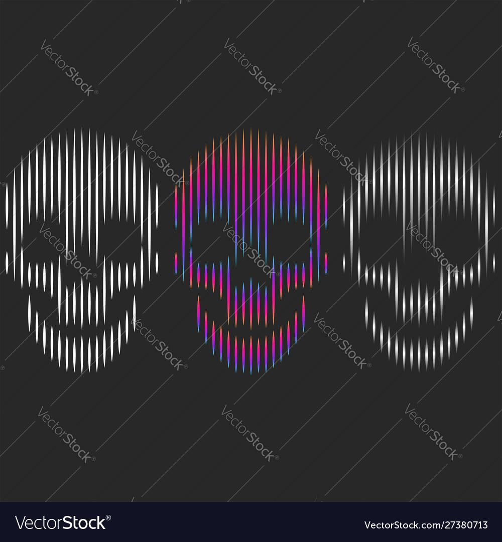 Set three skulls shape graphic print for t-shirt