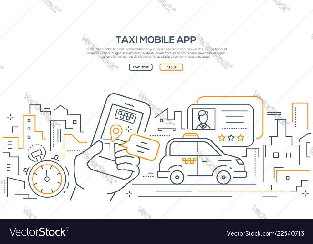 Taxi mobile app - modern line design style banner