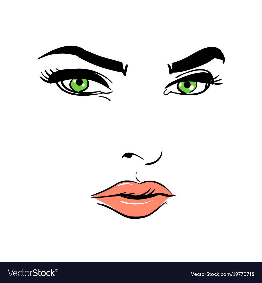 A woman s face green-eyed mysterious