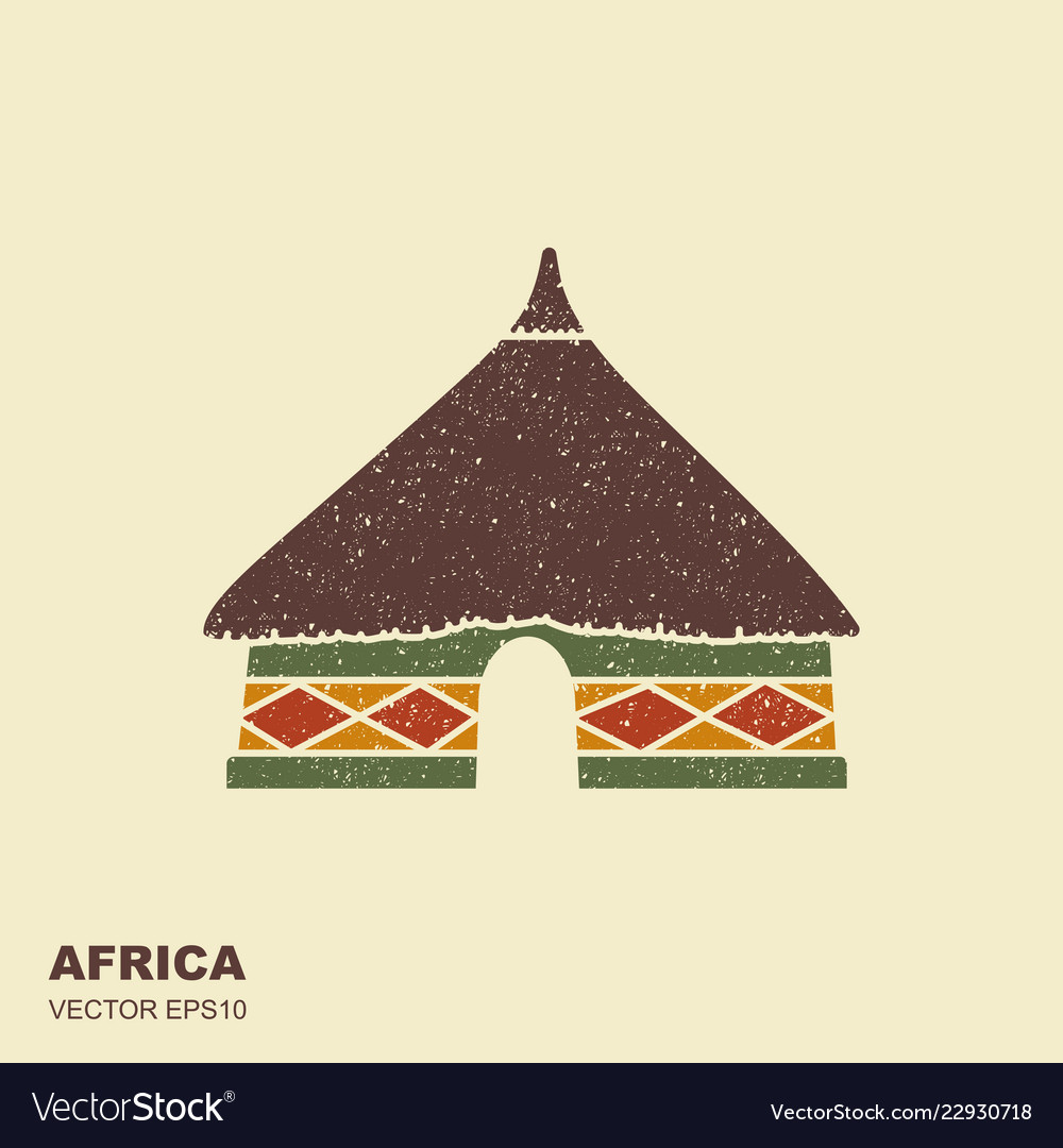 African tribal hut icon isolated with scuffed