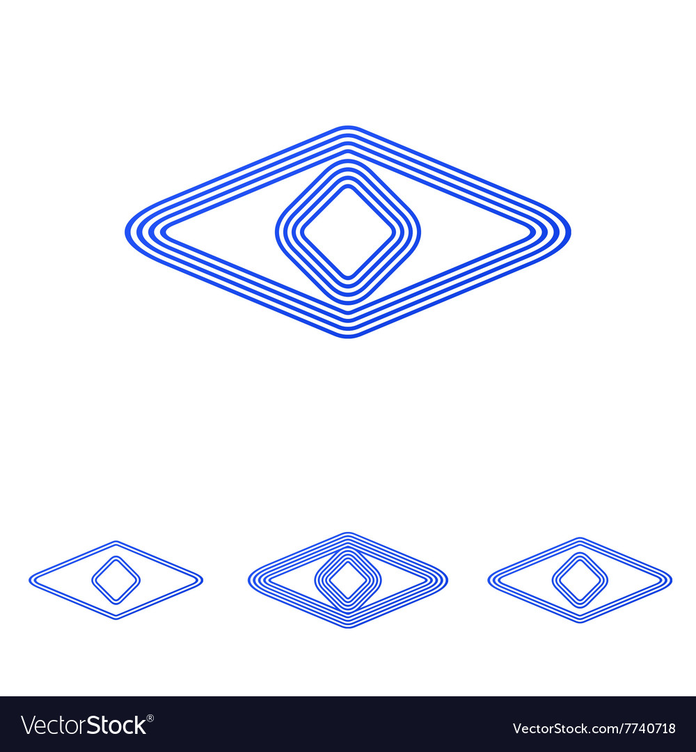 Blue line eye logo design set