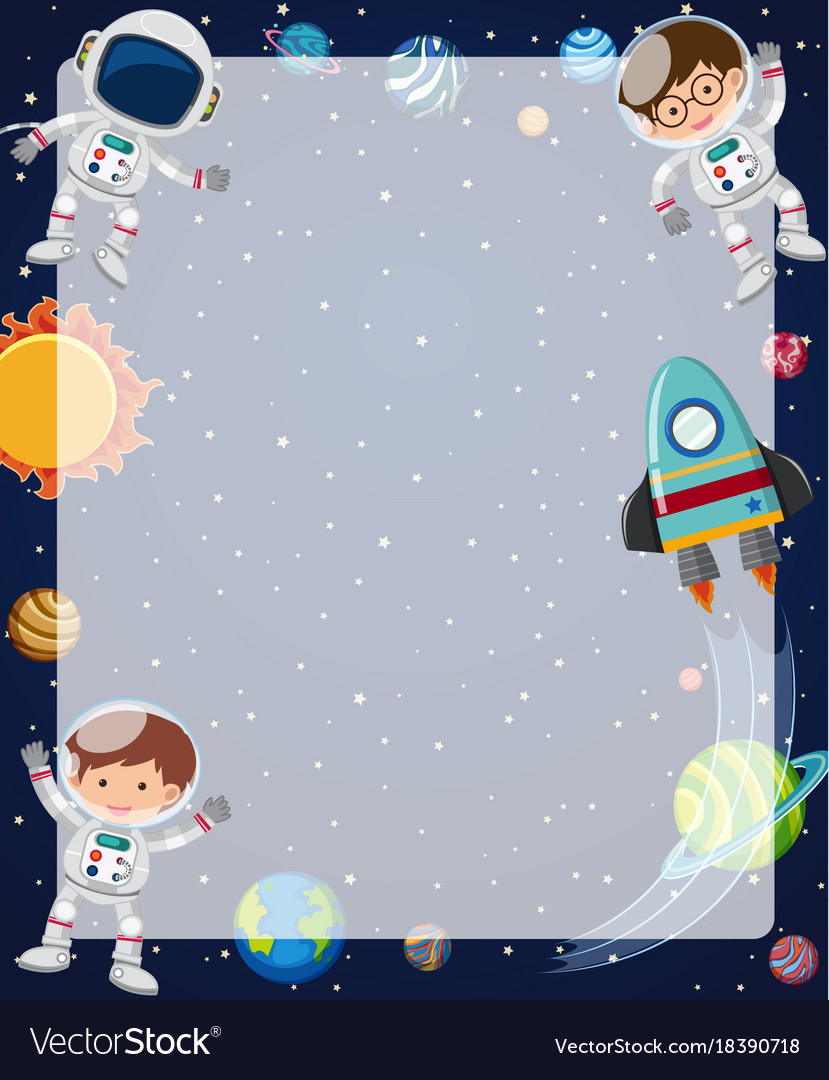 border template with astronauts flying in sky vector image