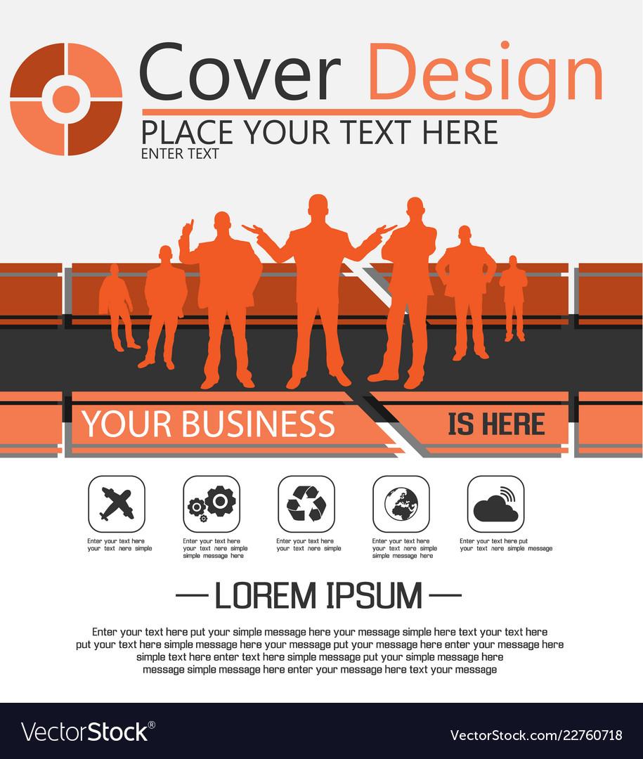 cover design businessman simple flyer orange vector image