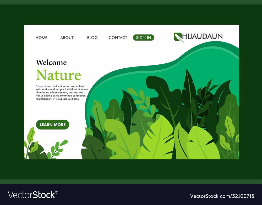 Green nature landing page flat design template