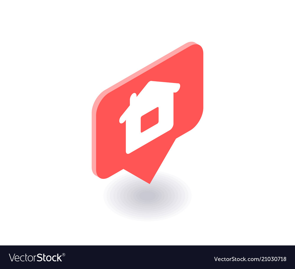 Home icon symbol in flat isometric 3d vector image
