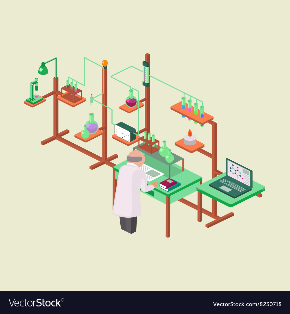 Laboratory research chemical isometric style