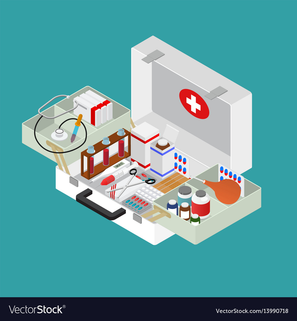 Medical case with equipment isometric view