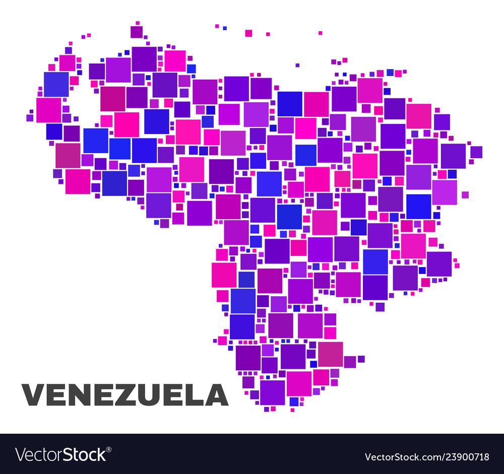 Mosaic venezuela map of square elements