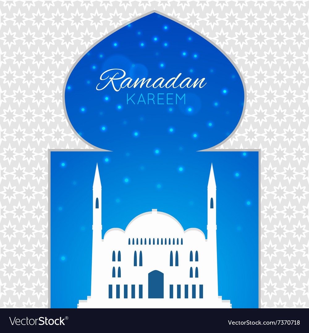 Mosques silhouette on blue night background