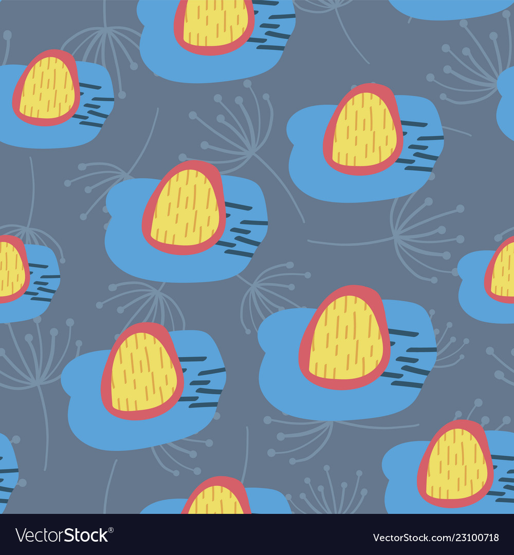 Retro flowers blue yellow and red seamless