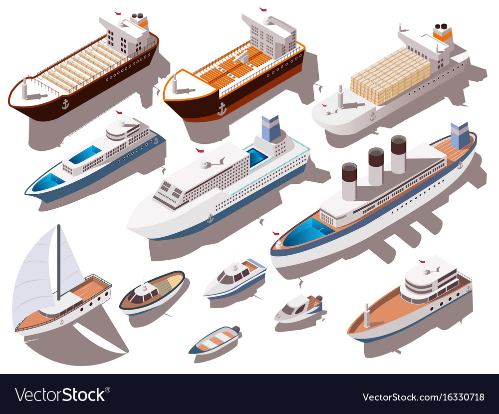 Ships isometric set