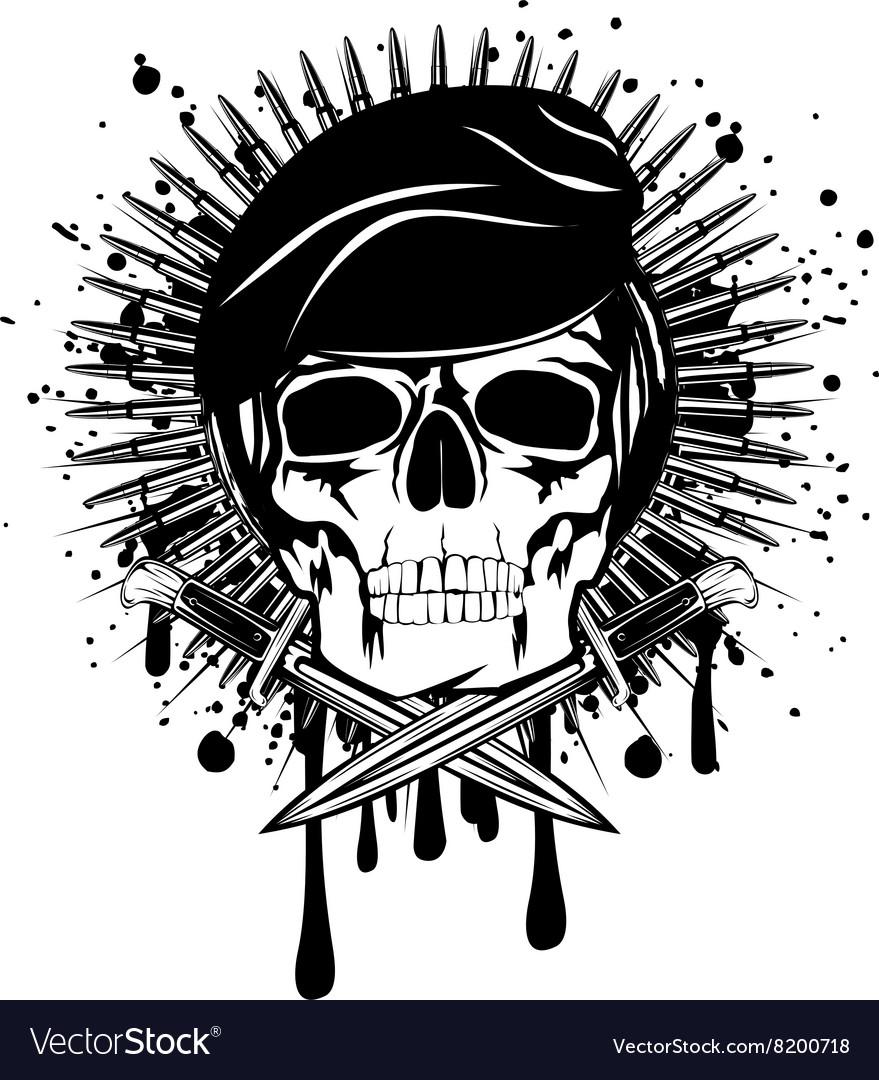 Skull in beret crossed knives on grunge splash vector image