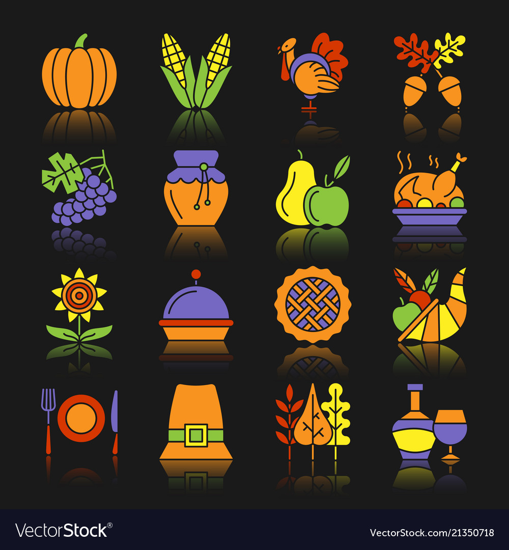 Thanksgiving day color icon set with reflection