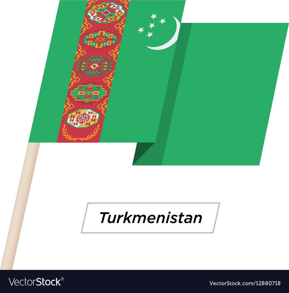 Turkmenistan Ribbon Waving Flag Isolated on White
