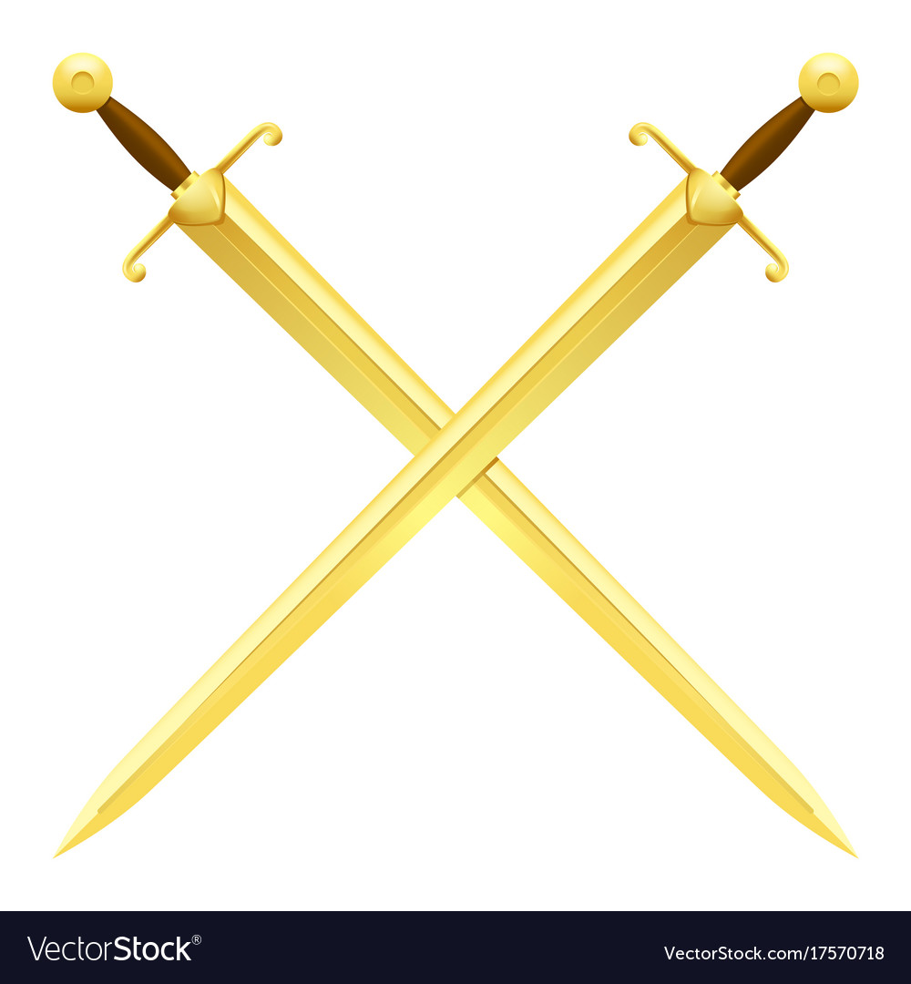 Two crossed swords of gold on white background