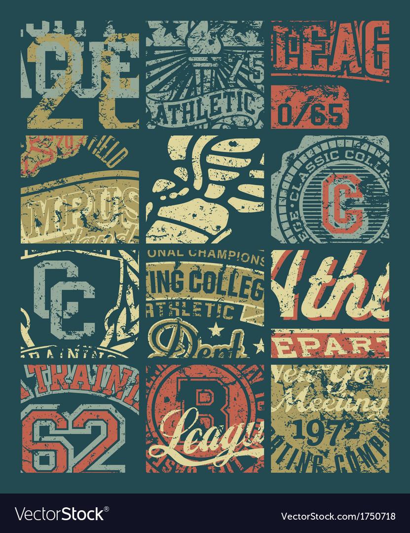 Vintage athletic department badges patchwork vector image